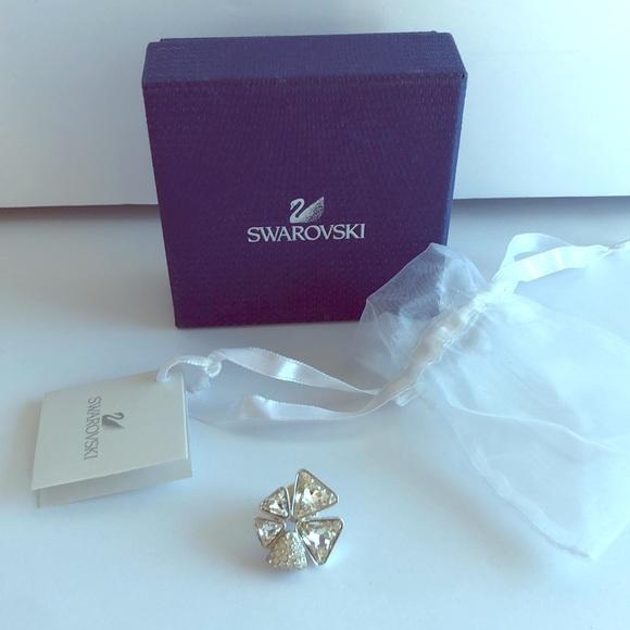NIB Swarovski Silver Jeweled Brooch